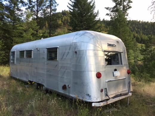 Photo of a vintage aluminum Streamline brand trailer