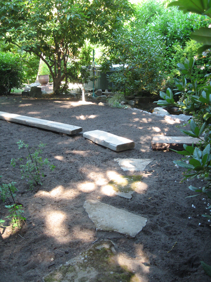 New garden path of recycled and found materials